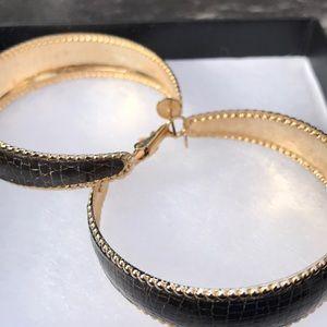 Gold & Leather Hoop Earrings